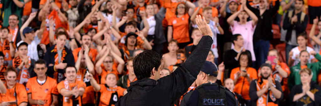 BRISBANE, AUSTRALIA - APRIL 21:  Thomas Broich of the Roar farewells fans in what could possibly be his last home game for the Roar after his team wins the A-League Elimination Final match between the Brisbane Roar and the Western Sydney Wanderers at Suncorp Stadium on April 21, 2017 in Brisbane, Australia.  (Photo by Bradley Kanaris/Getty Images)