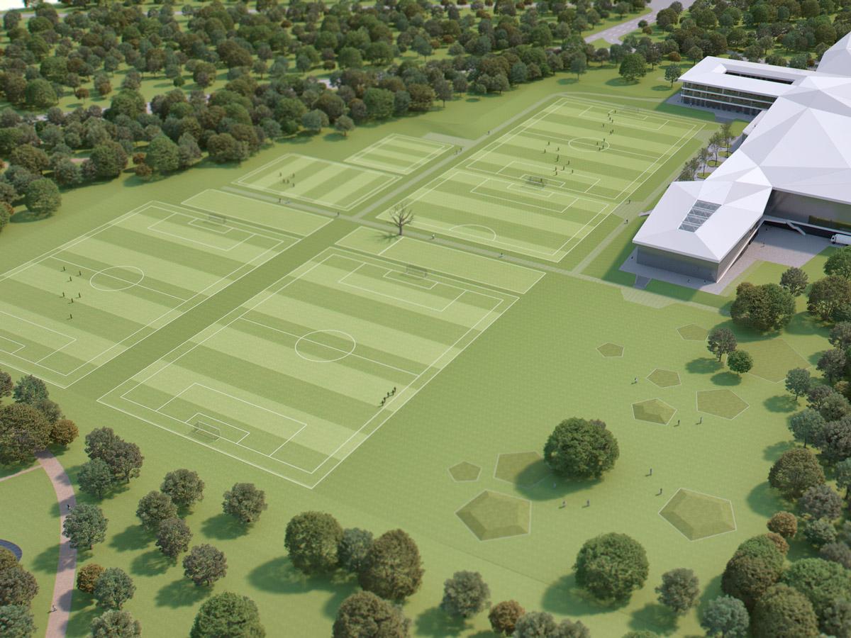 Naturrasen-Plätze der neuen DFB Akademie