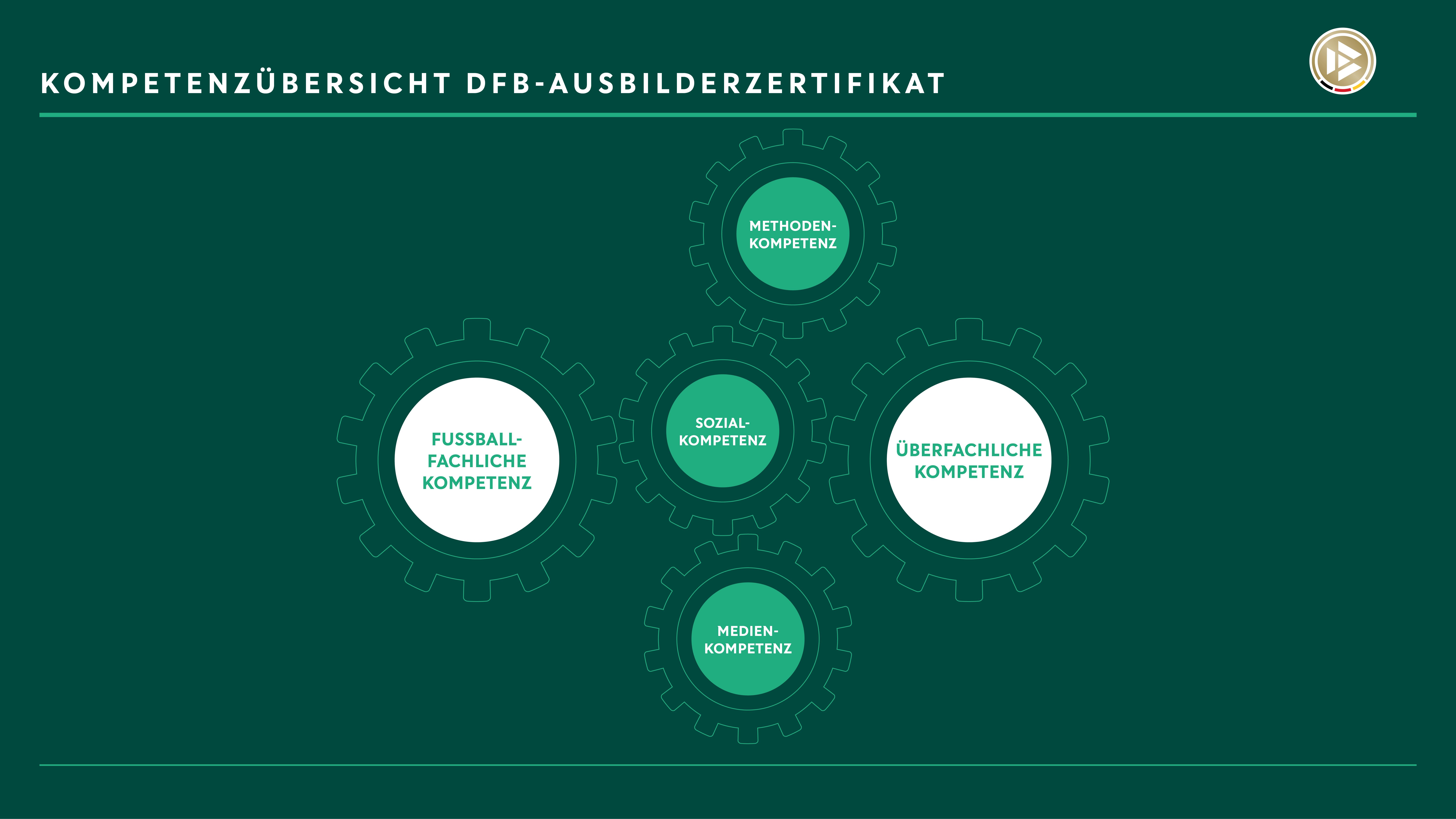 Darstellung der Kompetenzen, die mit dem DFB-Ausbilderzertifikat stärker miteinander verzahnt werden sollen.